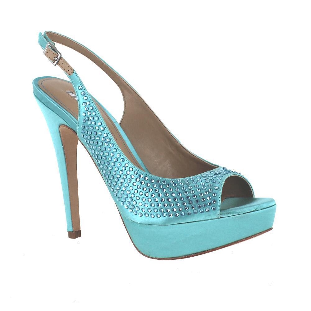 David Tutera Glamour Mint Teal Satin Womens Wedding Shoes