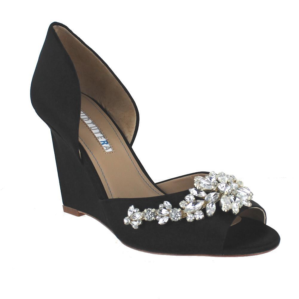 David Tutera Winter Black Satin Womens Wedding Shoes Size 11M