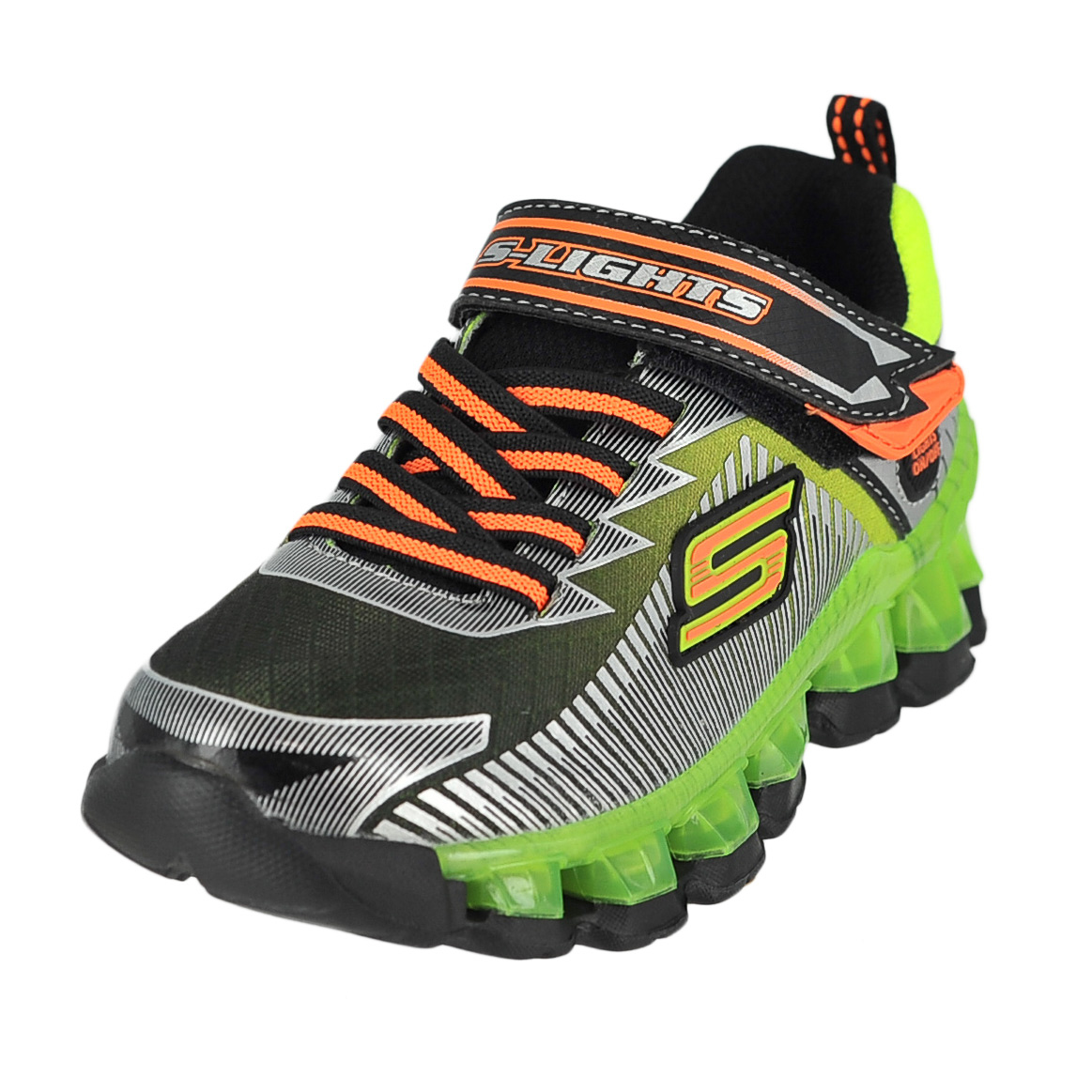 skechers flashpod scoria black lime boys light up sneaker size 1 5m. Black Bedroom Furniture Sets. Home Design Ideas