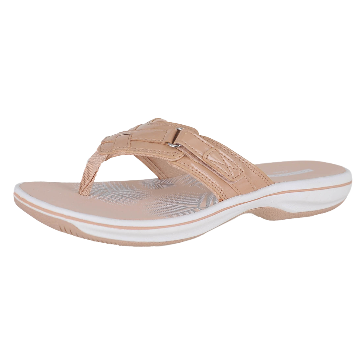 88908481205 Details about Clarks Breeze Sea Nude Patent Womens Flip-Flop Size 10M
