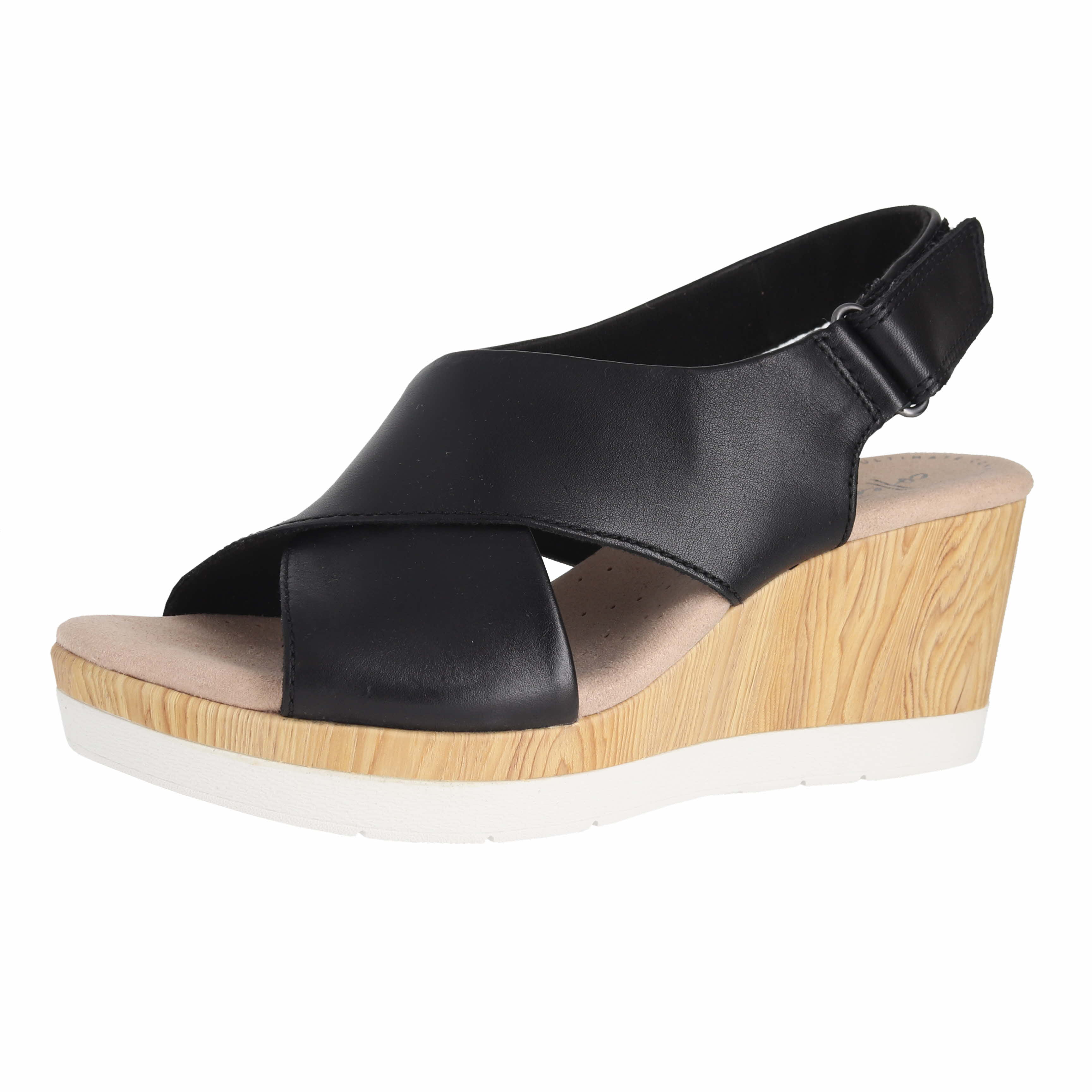 2695ed5bd Details about Clarks Cammy Pearl Black Leather Womens Wedge Sandals Size 12M
