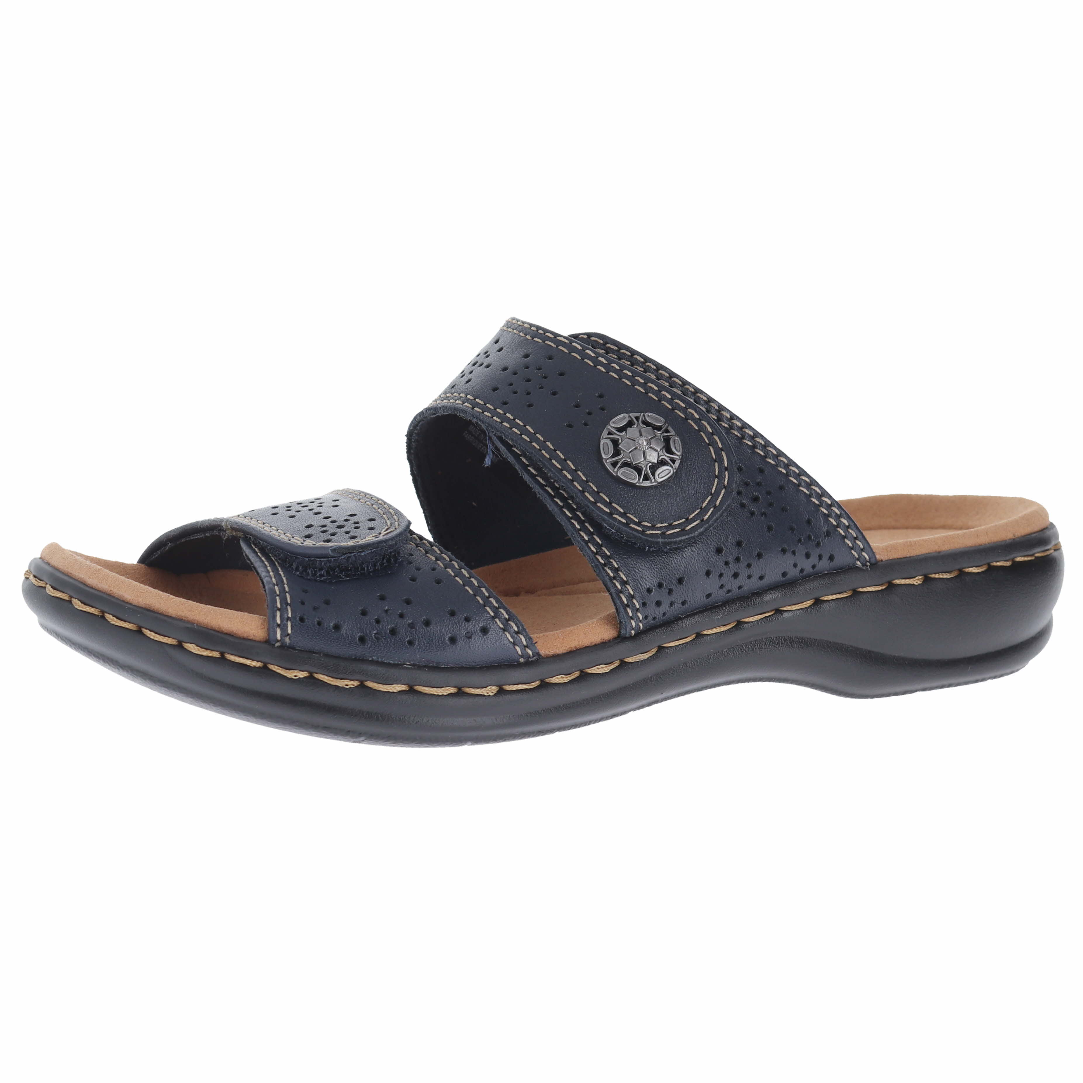 1ae37cf1fccd Clarks Leisa Lacole Navy Leather Womens Slide Size 10M 889305860485 ...