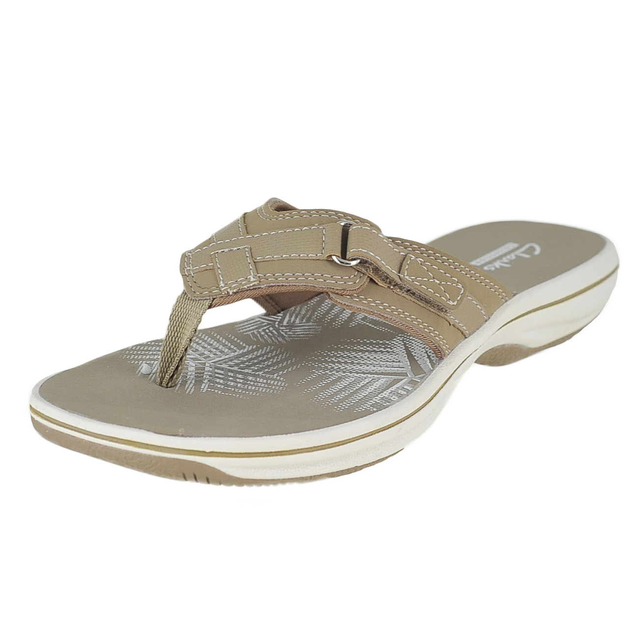 544c7d475123 Clarks Breeze Sea Taupe Womens Flip-Flop Size 8M 889305831799